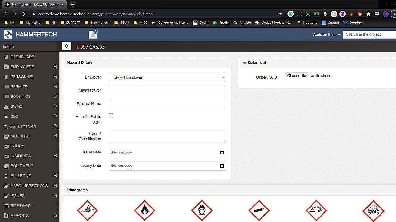 sds platform screenshot from hammertech dashboard